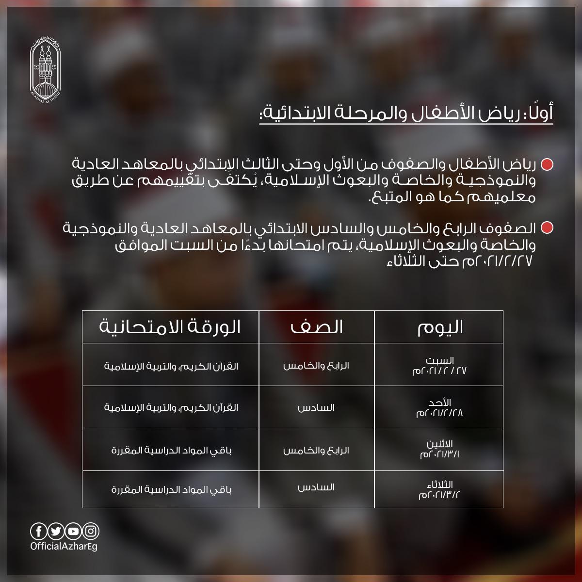 000 - جداول امتحانات الابتدائية الازهرية الترم الاول 2021 الصف الرابع والخامس والسادس