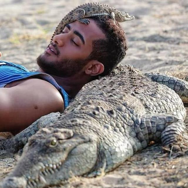 IMG 20210220 WA0051 - صورة محمد رمضان على ظهر التمساح .. عاشق الحيوانات